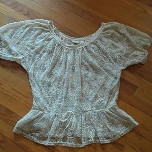Women's XL Sheer cream top